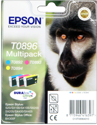 Tinte f. Epson Stylus SX405 [T08954010] Multipack cyan, magenta, yellow