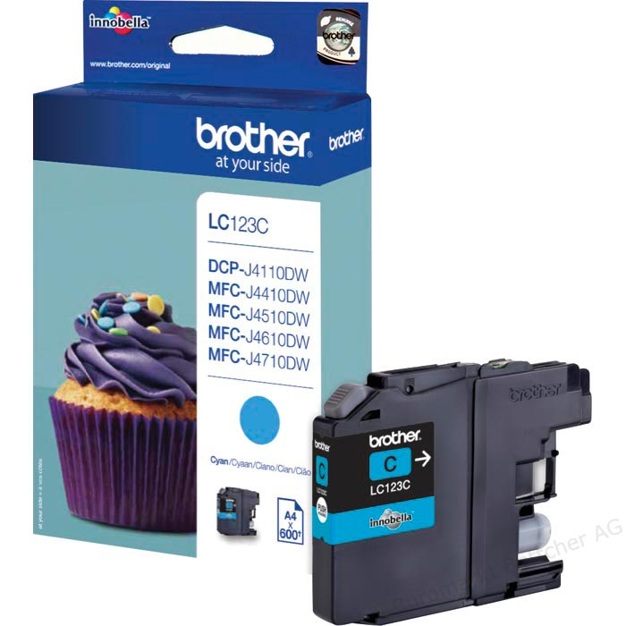 Tinte f. Brother MFC-J 4510 [LC-123C] cyan