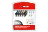 Tinte f. Canon Pixma iP4200 [CLI-8BK/PC/PM/CR/Y] Multipack black , Photo-Cyan, Photo-Magenta, red, green